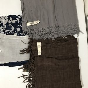 Lot of 3 Scarves - 2 Abercrombie & 1 Ruehl 925